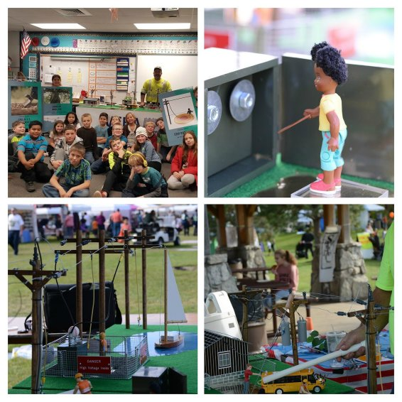 Several images: children watching presentation, figurine, electricity safety demonstration equipment